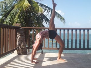 Yoga teacher Parama K. Williams in yoga class at yoga retreat in Belize