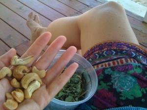 holding cashews