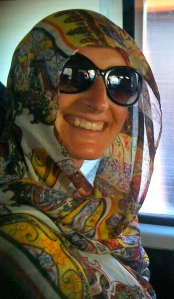Parama in head wrap on bus