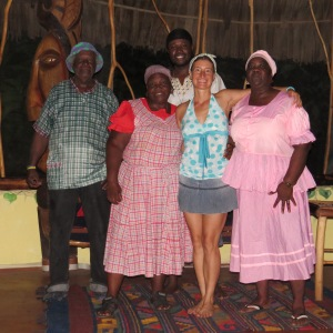 Parama Williams with Garifuna drummers in Punta Gorda 2016