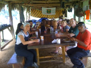 group pic at lunch - Maroon Creole Drum School